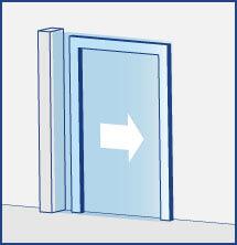 Luftschleier horizontal stehend für Schiebetüren oder Flügeltüren