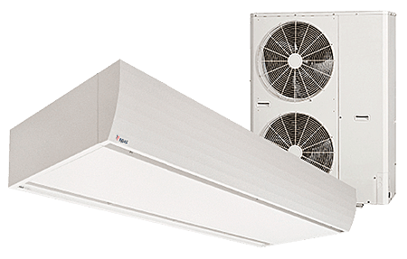 Luftschleier mit integrierter Klimatisierung und Wärmepumpe