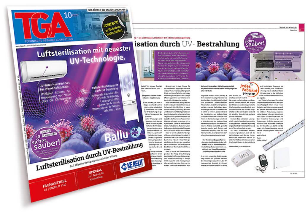 Luftsterilisation Pressebeitrag in Fachpresse TGA