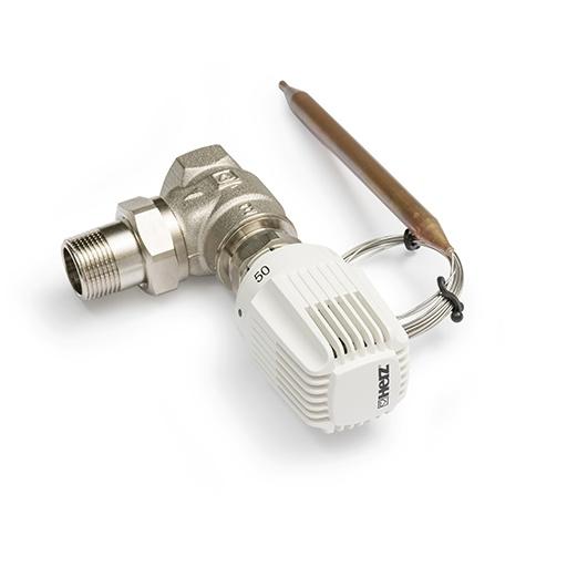 Thermostatisches Regelventil (2-Wege Regelventil) als Eckventil mit Thermostatkopf