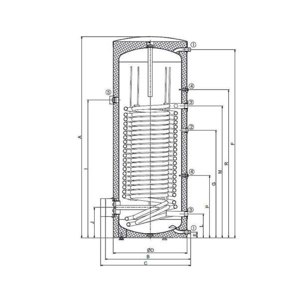 Technische Illustration Wassererwärmer ST-400DE